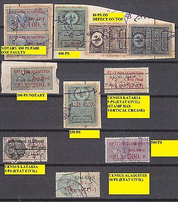 Syria Key Values Alaouites & Ottoman ADPO High denomination Revenue Stamps