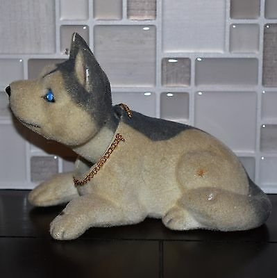 Fuzzy Felt Furry Bobble Head Nodder Siberian Husky Figurine Toy