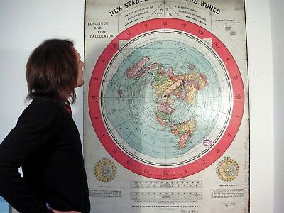 GIANT FLAT EARTH POSTER PRINT, Gleasons New Standard Map Of The World 1892 - XXL