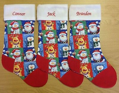 Personalised Christmas Stocking - Children's Funky- Gift Xmas Patchwork Handmade