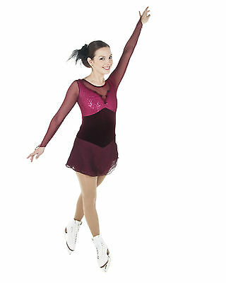 New Competition Skating Dress Elite Xpression Burgundy  1479 AS Small