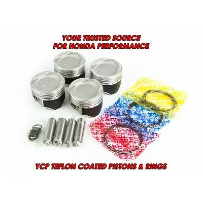 "Honda Civic Turbo Pistons D16Z6 D16Y8 D16A 75.5mm Bore .020"" YCP Vitara Coated"