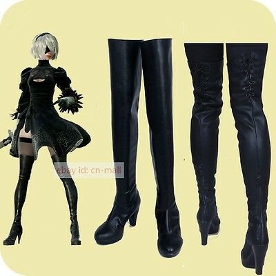 NieR:Automata 2B Game Black PU leather Over the knee Cosplay shoes boots