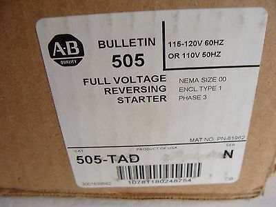 New Allen Bradley 505-TAD Size 00 Full Voltage Reversing Starter 3 Phase