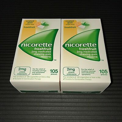 x2 Nicorette 2mg SugarFree Gum - 105+105=210 Pieces - FreshFruit (Fusion)
