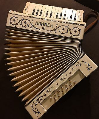 Vintage M Hohner Germany - Unique Painted Design With Jeweled Accents - Antique
