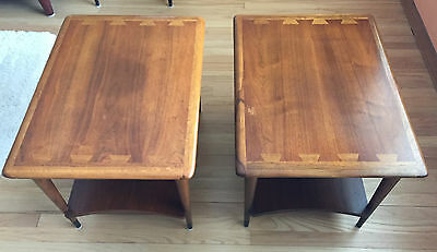 Vintage Set of Two MCM Lane Acclaim Side End Tables Dovetail Mid Century Modern