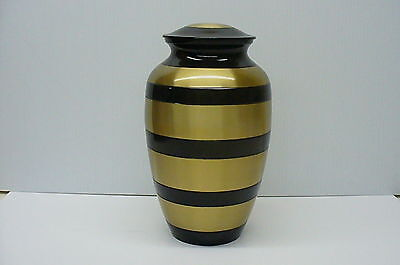 Funeral cremation urn brass gold color with 4 shiny black rings Urne funeraire