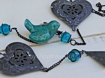 NEW  French Provincial style Metal Hearts with Blue Bird and bell - Hanging