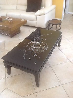 Vintage Asian mother of pearl inlay black lacquered teakwood coffee table