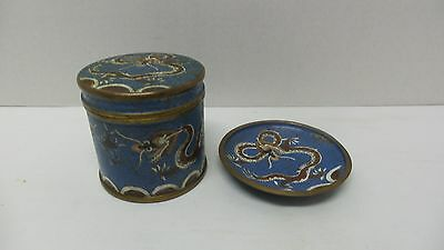 Antique CHINESE Blue Enamel Cloisonne DRAGON Tea/Tobacco Jar Box Ashtray Dish