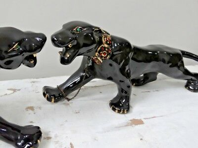 large Retro Mid Century Vintage Ceramic Black Panther With Collar Chain