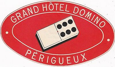France Perigueux Grand Hotel Domino Vintage Luggage Label sk2092