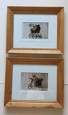 "2 Oak Framed Picture Of A Cat in Carriage & Bike By Brooth 12""x10"""