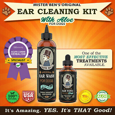 Dog Ear Cleaning Kit by Mister Bens - Original Ear Care Kit with Aloe