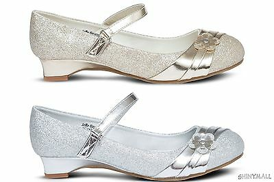 Girls Toddlers Youth Mary jane Party Dress Shoes Black silver gold glitter(conet