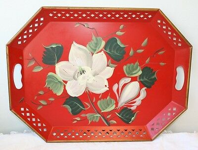 Vintage Nashco Products NY Toleware Tole Tray Hand Painted Flowers Dogwood 20""