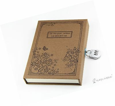Vintage Coffce Diary Notebook Journal Notepad Hard Cover With Code Lock Gift ...
