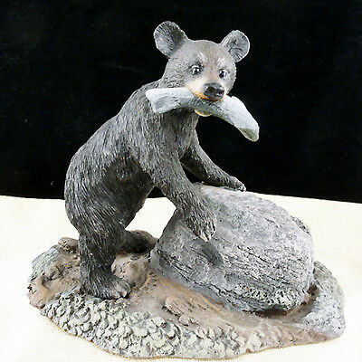 "BEAR CUB W/TROUT 3.75"" tall Peak Time Collection NEW NEVER SOLD porcelain CANADA"