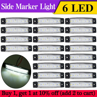 20X White 6 LED Side Marker Lights Clearance for Car Lorries Buses Truck Trailer