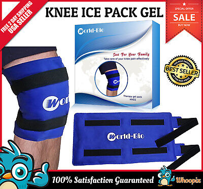 Knee Gel Pack Wrap Hot Cold Therapy Reusable Ice Pad Pain Relief Velcro Strap XL
