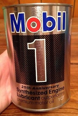 Mobil One Oil Can Bank 25th Anniversary 1 QT Can Rare