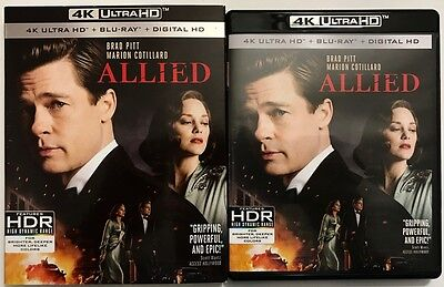 Allied 4K Ultra Hd Uhd Blu Ray 2 Disc + Slipcover Sleeve Free World Shipping
