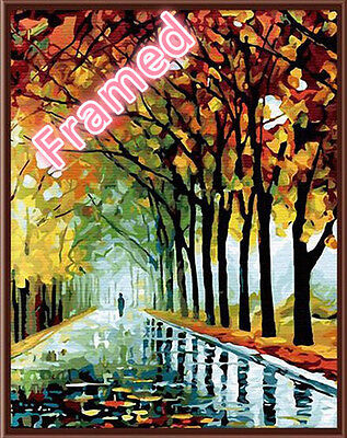 Framed 40*50cm Painting By Number Kit F006 Autumn Rain S3 HOME DECOR AU STOCK