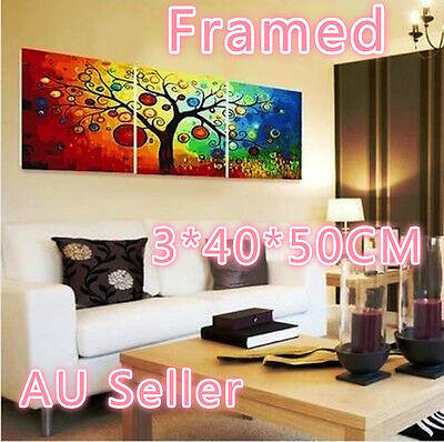 Framed Set of Three 40*50cm Painting By Number Kit F3P009 Colorful Tree S3 DIY