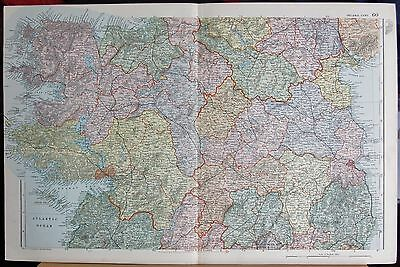 1896 Large Victorian Map- Ireland Central Parliamentary Divisions