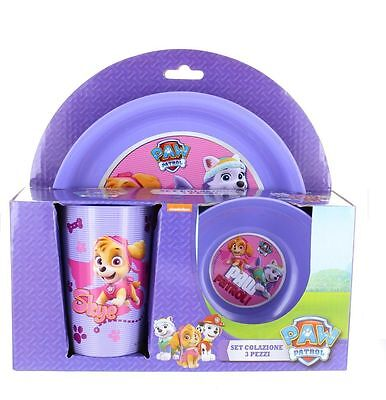Purple Paw Patrol Children 3pc Breakfast Lunch Dinner Set  Picnic Dining
