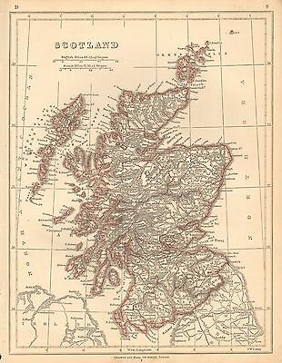1853 Ca ANTIQUE MAP H/COL LOWRY-SCOTLAND