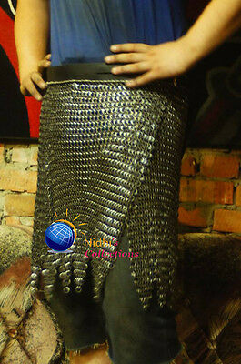 Medieval Armour Chainmail Skirt 10Mm Flat Riveted With Washer