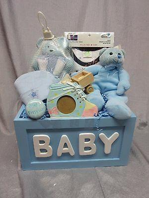 Baby Boy Blue Gift Basket - Teddy Bear,photo Frame,soap Dish,romper, Truck - New