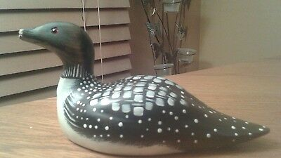 Wooden hand carved hand painted common loon signed nose broken