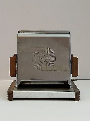 HeatMaster Art Deco Turnover Toaster Antique Chrome & Wood Made in the USA