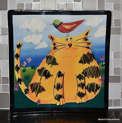 2005 Naylor Designs Hand Painted Decorative Cat Outside Bird Head Square Plate