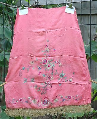 Antique Chinese Silk Hand Embroidered Fabric Textile Wedding Skirt Panel