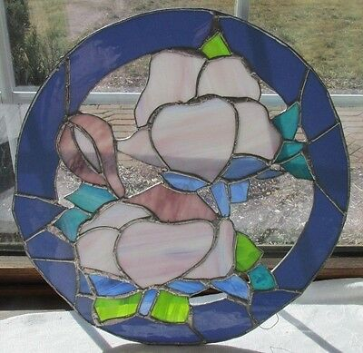 Artist Hand Made Leaded Stained Glass Window Plaque 16X16 Purple Flowers Blue