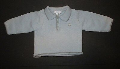 Infant Boys Jacadi Blue & Gray Wool Collar Pullover Sweater Size 3-6 Months