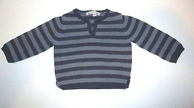 Infant Boys Bonpoint Blue Striped Linen Pullover Sweater Size 6 Months