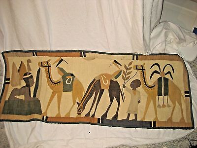 Egyptian Applique, Hand-Sewn, Linen Wall-HangingTapestry - Sphinx, Pyramid - 20s