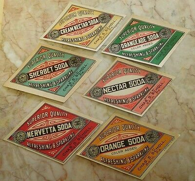 6 Vintage Chas S. Scholl  Soda Labels Bath, PA Unused