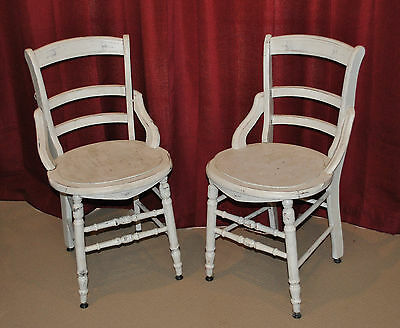 2 Vintage Wooden Kitchen Or Porch Style Chairs
