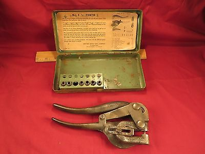 Vintage WHITNEY Hand Metal PUNCH No. 5 JR. in Original Metal Box Old USA Tools