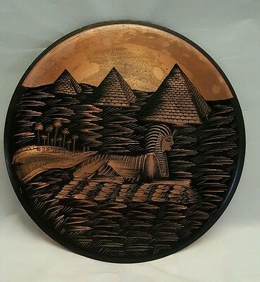 """Vintage Copper Plate Egyptian Spinx Pyramids Wall Art Etched 8"""" Beautiful Unique"""