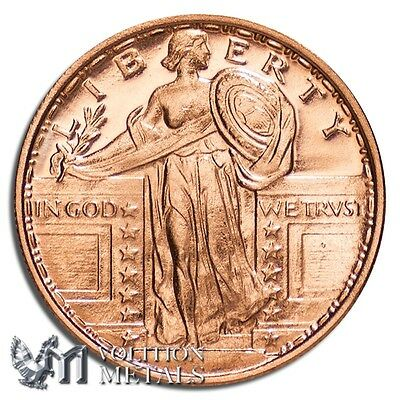 20 Coins- Standing Liberty 1/4 oz .999 Copper Bullion Rounds
