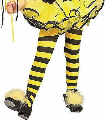 Girls Bumble Bee Tights Yellow Black Stripped Striped Tight Stockings Stocking