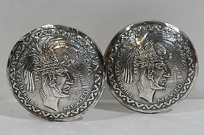 E20 Bernice Goodspeed Mexico Eagle 28 Sterling Mayan King Hunac Ceel Cufflinks