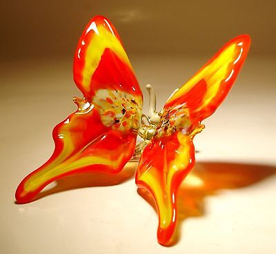 """Blown Glass Figurine """"Murano"""" Art Red and Yellow BUTTERFLY"""